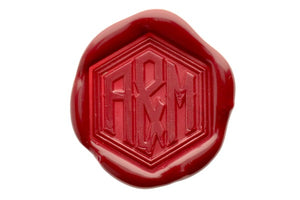 Hexagon Double Initials Wedding Monogram Wax Seal Stamp