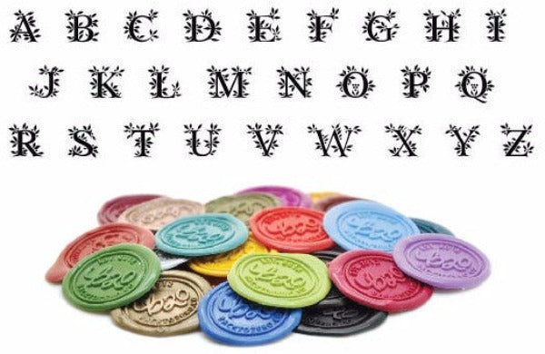 Leafy Initial Wax Seal Stamp | Available in 4 Sizes - Backtozero