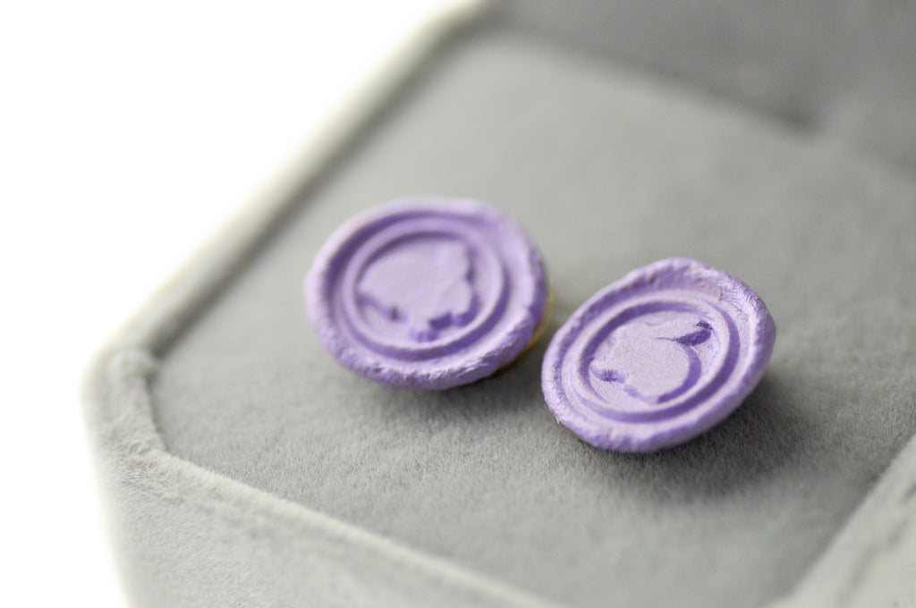 OOAK Bunny Wax Seal Earrings - Wax Seal Earrings - Backtozero