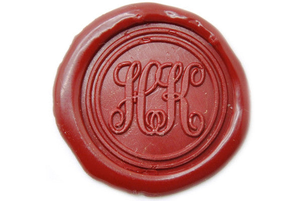 Double Initials Monogram Wax Seal Stamp - Wax Seal Stamp - Backtozero