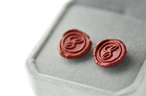 OOAK Script Initial Wax Seal Earrings - Wax Seal Earrings - Backtozero