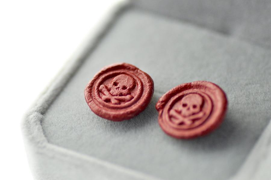 OOAK Skull Bone Wax Seal Earrings - Wax Seal Earrings - Backtozero