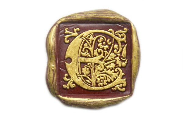 Decorative Floral Initial Wax Seal Stamp - Wax Seal Stamp - Backtozero