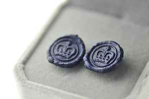 OOAK Royal Crown Wax Seal Earrings - Wax Seal Earrings - Backtozero