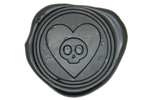 Skull in Heart Wax Seal Stamp - Wax Seal Stamp - Backtozero