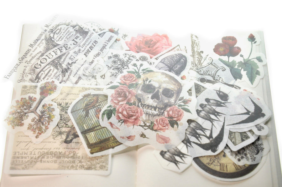 Translucent Stickers Set | Gothic & Flowers - Sticker - Backtozero