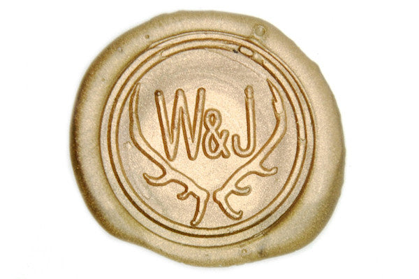 Antler Double Initials Wax Seal Stamp - Wax Seal Stamp - Backtozero