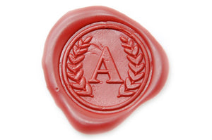 Wreath Initial Wax Seal Stamp - Wax Seal Stamp - Backtozero