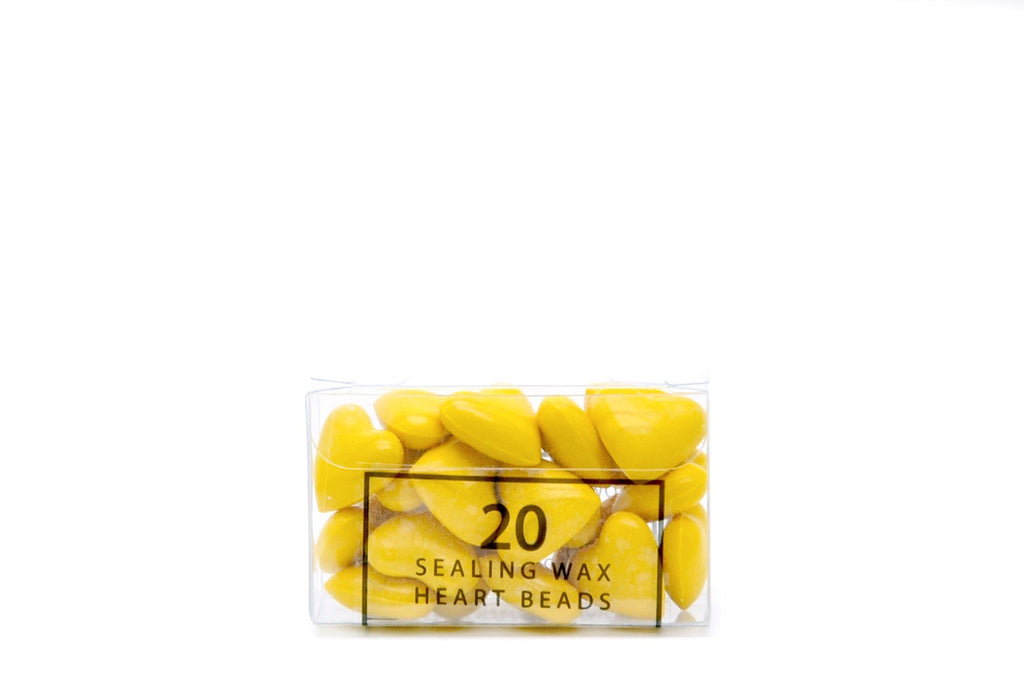 Yellow Sealing Wax Heart Bead, Backtozero  - 3
