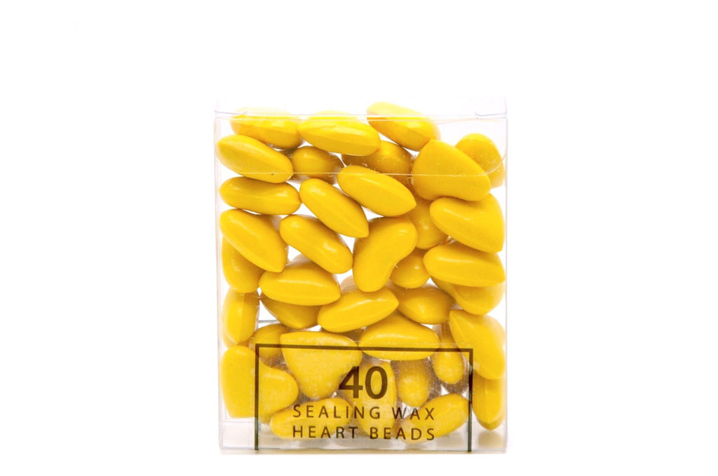 Yellow Sealing Wax Heart Bead, Backtozero  - 5