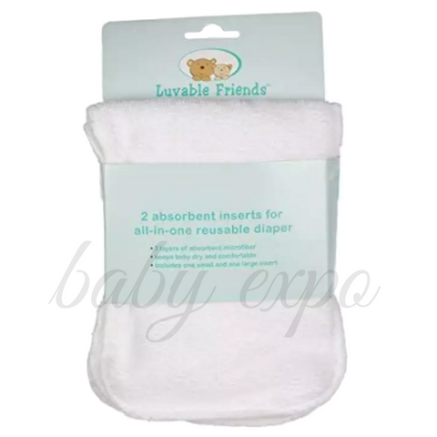 Luvable Friends 2 Pack Newborn Infant Absorbent Inserts For All-In-One Reusable Diaper