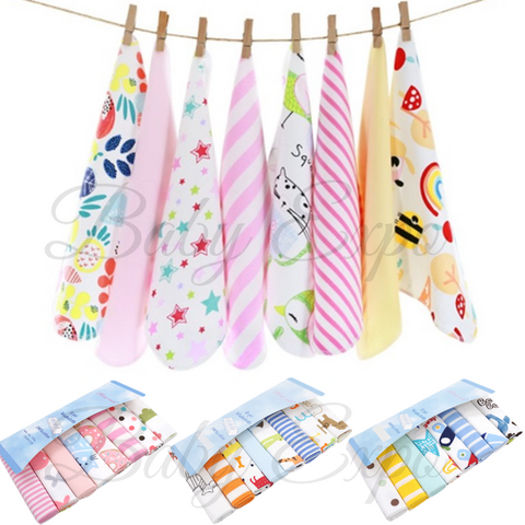 8pcs Newborn Baby Premium Cotton Handkerchief Saliva Towel Burp Cloth Washcloth Soft