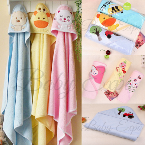 3pc 100% Cotton Newborn Baby Hooded Towel