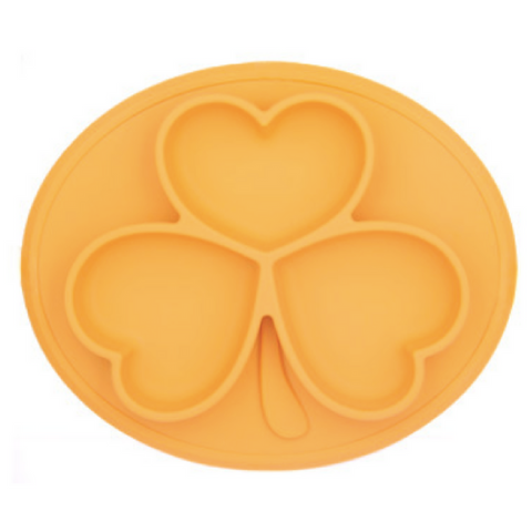 Silicone Feeding Plate Clover - Orange