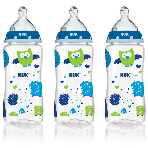 NUK Baby Bottle with Perfect Fit Nipple 300ml (3 Bottles - Owl)