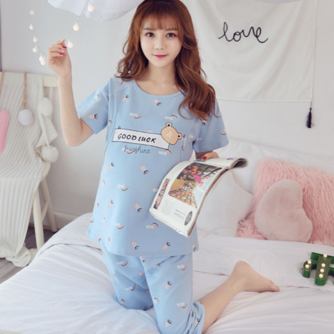 Maternity Nursing Short Sleeve PJ Set - PS001