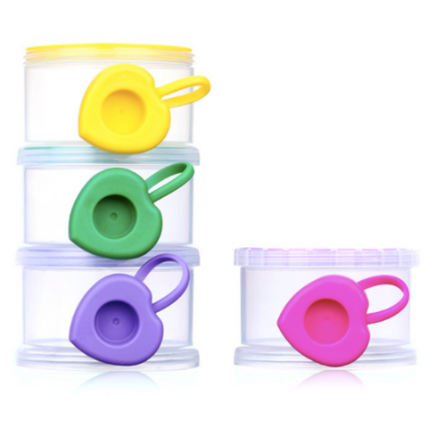 Baby Milk Powder & Snack Dispenser - 4 Layer (Heart Shape Side)