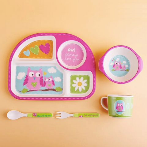 Bamboo Fiber 5pcs Tableware Set - Pink Owl