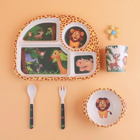 Bamboo Fiber 5pcs Tableware Set - Animal kingdom