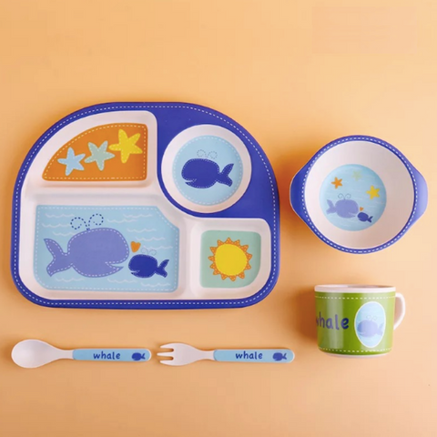 Bamboo Fiber 5pcs Tableware Set - Whale