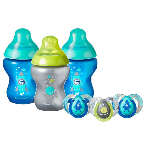 Tommee Tippee Closer to Nature Boldly Go Gift Set 260ml (3 Bottles) - Blue