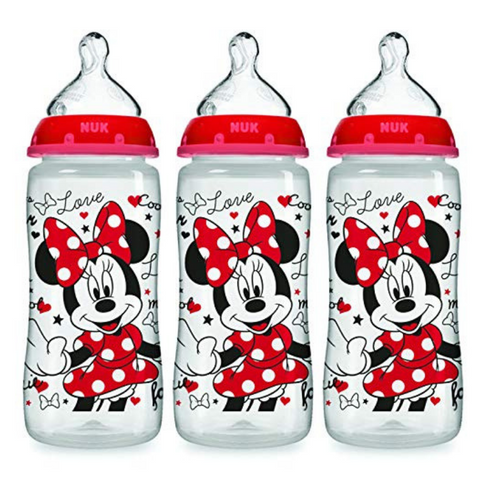 NUK Disney Baby Bottle with Perfect Fit Nipple 300ml (3 Bottles - Minnie)