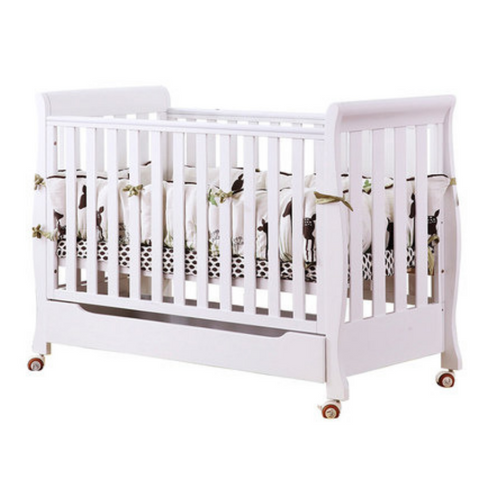 Baby Convertible Cot Moon Enjoy + Free Premium Foam Mattress + Free Premium Bedding Set