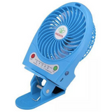 Portable Rechargeable Fan with Clip - Blue