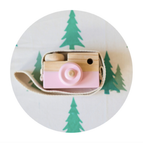 Wooden Toy Camera - Pink