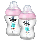 Tommee Tippee Closer to Nature 260ml (2 Bottles - Pink Decorated)