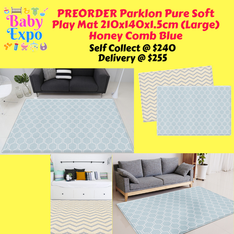 PREORDER ETA 1-15 Mar 2020 - Parklon PURE Play Mat Size L (210) Honey Comb Blue