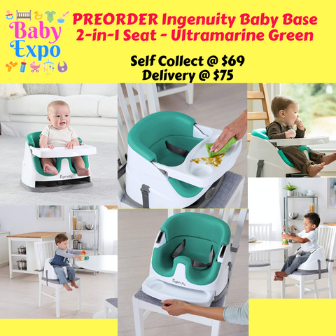PREORDER ETA 1-15 Nov 2019 - Ingenuity Baby Base  2-in-1 Seat (Ultramarine Green)
