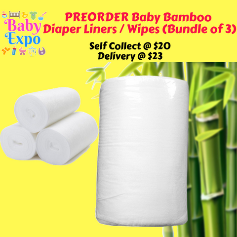 PREORDER Baby Bamboo Diaper Liners / Wipes (Bundle of 3)