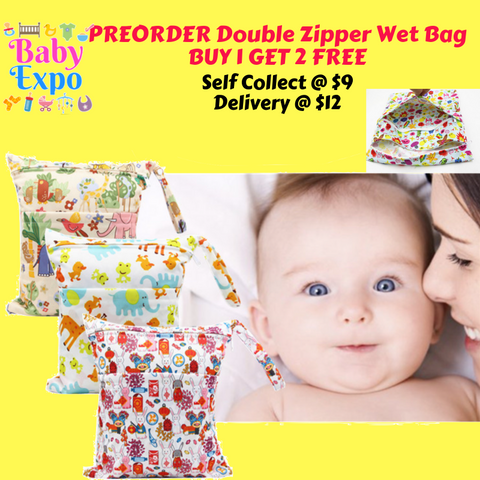 PREORDER ETA 1-15 May 2020 - Double Zipper Wet Bag (30 x 36cm) BUY 1 GET 2 FREE