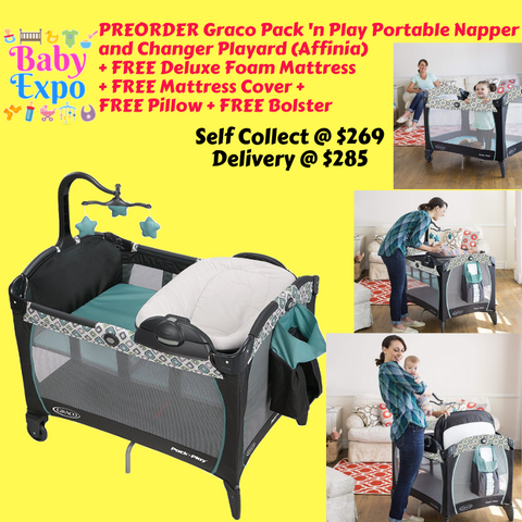 PREORDER ETA 1-15 Sept 2019 - Graco Pack 'n Play Playard Portable Napper & Changer (Affinia) + FREE Deluxe Foam Mattress + FREE Mattress Cover + FREE Pillow + FREE Bolster
