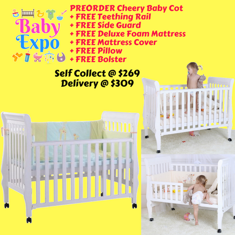 PREORDER ETA 1-15 Sept 2019 - Cheery Baby Cot + FREE Teething Rail + FREE Side Guard + FREE Deluxe Foam Mattress + FREE Mattress Cover + FREE Pillow + FREE Bolster