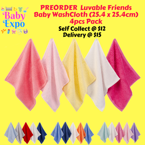 PREORDER Luvable Friends Baby WashCloth (25.4 x 25.4cm) 4pcs Pack