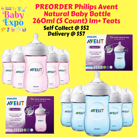 PREORDER Philips Avent Natural Baby Bottle 260ml (5 Count) 1m+ Teats