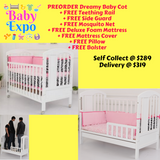 PREORDER ETA 1-15 Jun 2020 - Dreamy Baby Cot + FREE Teething Rail + FREE Side Guard + FREE Mosquito Net + FREE Deluxe Foam Mattress + FREE Mattress Cover + FREE Pillow + FREE Bolster