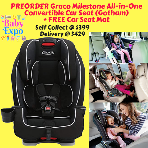 PREORDER ETA 1-15 Sept 2019 - Graco Milestone All-in-One Convertible Car Seat (Gotham) + FREE Car Seat Mat
