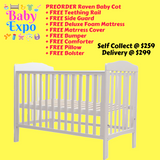 PREORDER Baby Cot Raven (Free wheels + teething rails)