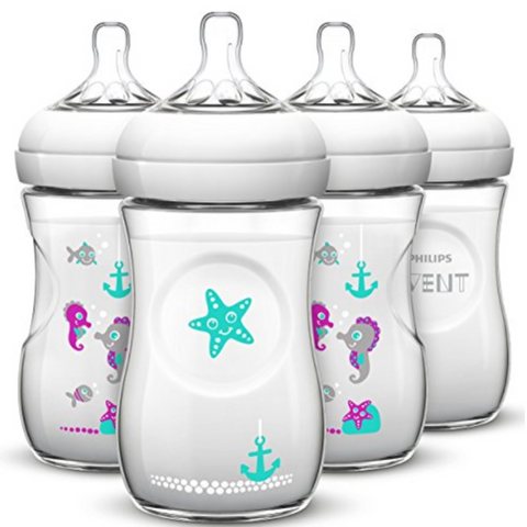Philips Avent Natural Bottle 260ml Seahorse Design (4 Bottles)