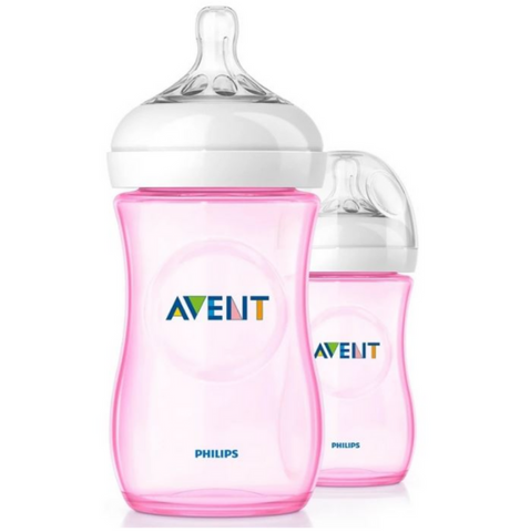 Philips Avent Natural Bottle 260ml Pink (2 Bottles)