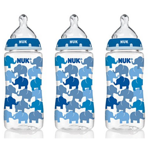 NUK Baby Bottle with Perfect Fit Nipple 300ml (3 Bottles - Elephants)