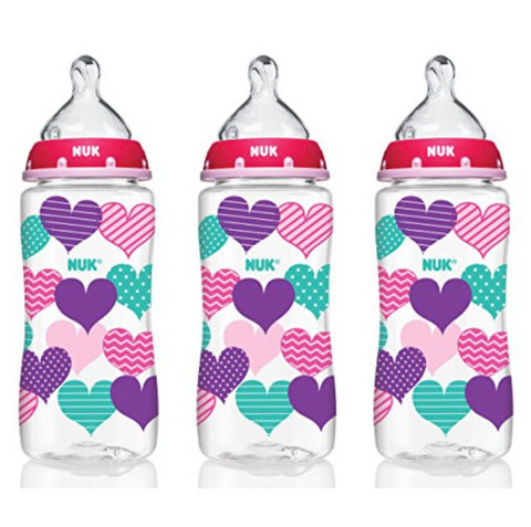 NUK Baby Bottle with Perfect Fit Nipple 300ml (3 Bottles - Hearts)