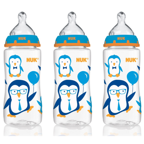 NUK Baby Bottle with Perfect Fit Nipple 300ml (3 Bottles - Blue Penguins)
