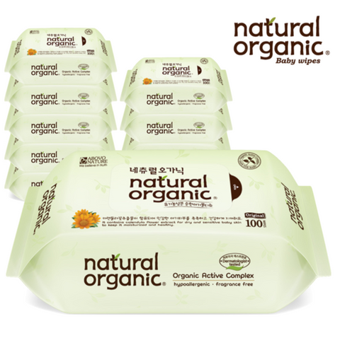 Natural Organic Original Plain Refill Baby Wipes 100 sheets x 10 packs