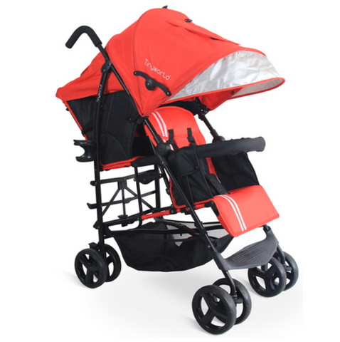 Tiny World Tandem Stroller - Red