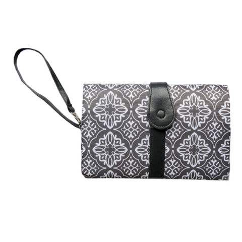 Baby Nappy Diaper Changing Clutch - Grey Print