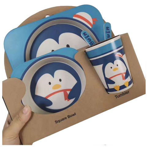 Bamboo Fiber 5pcs Tableware Set - Penguin